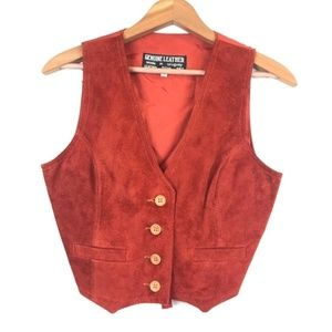 Vintage Burnt Orange Suede Vest